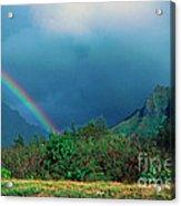 Koolau Mountains And Rainbow Acrylic Print