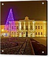 Koprivnica Night Street Christmas Scene Acrylic Print