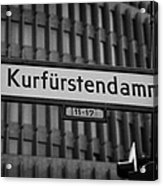 Kurfurstendamm Street Sign Berlin Germany Acrylic Print by Joe Fox