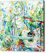 Kurt Cobain Playing The Guitar - Watercolor Portrait Acrylic Print