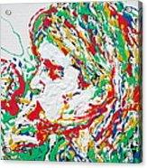 Kurt Cobain Smoking -portrait-enamels On Canvas Acrylic Print