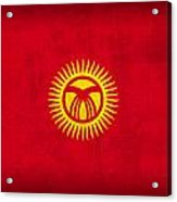 Kyrgyzstan Flag Vintage Distressed Finish Acrylic Print