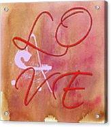L O V E Script With Heart Acrylic Print