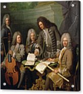 La Barre And Other Musicians, C.1710 Oil On Canvas Acrylic Print