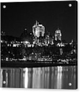 La Chateau Frontenac In Black And White Acrylic Print