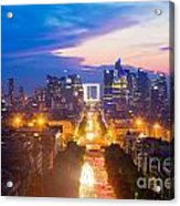 La Defense And Champs Elysees At Sunset In Paris France Acrylic Print