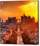 La Defense And Champs Elysees At Sunset Acrylic Print