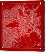 La Paz  Street Map - La Paz Bolivia Road Map Art On Color Acrylic Print