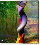 Lady At The Pond With Butterfly Acrylic Print