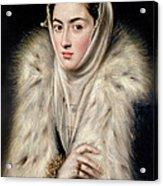 Lady In A Fur Wrap Acrylic Print