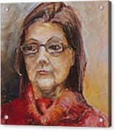 Lady In A Red Pullover Acrylic Print