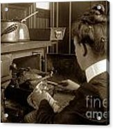 Lady In Early Kitchen Cooking Turkey Dinner 1900 Acrylic Print