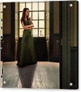 Lady In Green Gown By Window Acrylic Print by Jill Battaglia