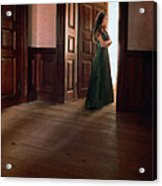 Lady In Green Gown In Doorway Acrylic Print by Jill Battaglia