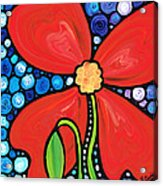 Lady In Red 2 - Buy Poppy Prints Online Acrylic Print by Sharon Cummings