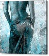 Lady In Red #27 Digital Colored Version Blue Aqua Acrylic Print