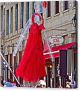 Lady In Red Watching Filming Of Today Show In Old Montreal-qc Acrylic Print