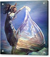 Lady In Water Oil On Canvas Painting Realsim  Acrylic Print