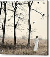 Lady In White In Autumn Landscape Acrylic Print