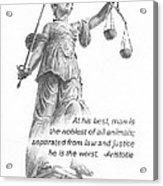 Lady Justice Statue Pencil Portrait Acrylic Print