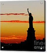Lady Liberty At Sunset Acrylic Print