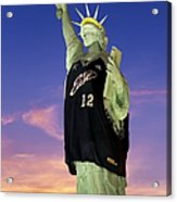 Lady Liberty Dressed Up For The Nba All Star Game Acrylic Print by Susan Candelario