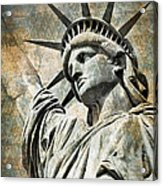 Lady Liberty Vintage Acrylic Print by Delphimages Photo Creations
