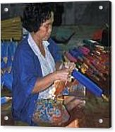 Lady Makes Umbrellas At A Factory Near Chaing Mai Acrylic Print