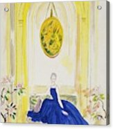 Lady Mendl Wearing A Blue Dress Acrylic Print