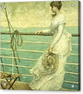 Lady On The Deck Of A Ship  Acrylic Print
