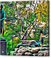 Lady On The Rocks Acrylic Print