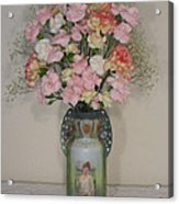 Lady On Vase With Pink Flowers Acrylic Print