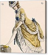 Lady Pulling Up Her Stocking, Engraved Acrylic Print