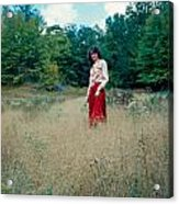 Lady Standing In Grass 2 Acrylic Print