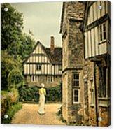 Lady Walking In The Village Acrylic Print by Jill Battaglia