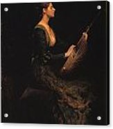 Lady With A Lute Acrylic Print by Thomas Wilmer Dewing