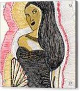Lady With Fan Acrylic Print