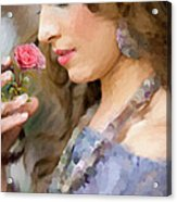 Lady With Pink Rose Acrylic Print