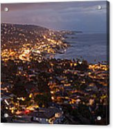 Laguna Beach City At Night Acrylic Print