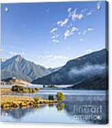 Lake Grasmere And Southern Alps Canterbury New Zealand Acrylic Print