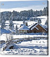 Lake House In Snow Acrylic Print