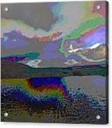 Lake Land And Sky Digitally Painted Photograph Taken Around Poconos  Welcome To The Pocono Mountains Acrylic Print