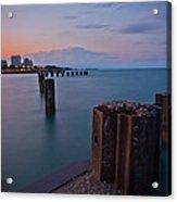 Lake Michigan Pylons Sunset Acrylic Print