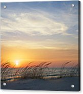 Lake Michigan Sunset With Dune Grass Acrylic Print