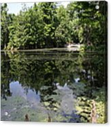 Lake On The Magnolia Plantation With White Bridge Acrylic Print