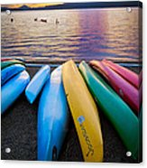 Lake Quinault Kayaks Acrylic Print by Inge Johnsson