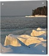 Lake Superior Winter Sunset Acrylic Print