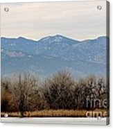 Lake Trees Mountains And Sky Acrylic Print