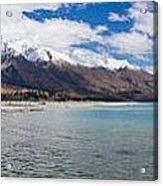 Lake Wakatipu And Snowy New Zealand Mountain Peaks Acrylic Print