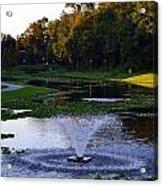 Lake With Fountain Acrylic Print